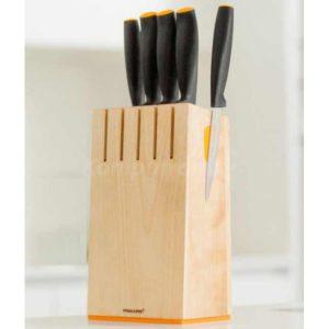 Zestaw 5 noży w bloku drewnianym